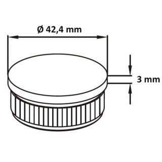 Endkappe mit Rändel, flach, hohl, Ø 42,4 mm, V2A Edelstahl geschliffen