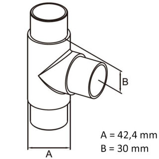 3-Wege-Verbinder 90° T-Stück für Ø 42,4 mm Rundrohre V2A Edelstahl geschliffen