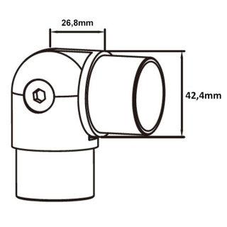 Gelenkverbinder aus V2A Edelstahl für 42,4 mm Rundrohre, 90 - 180°