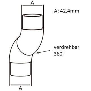 Rohrbogen für Rundhohre 42,4 mm x 2,0, flexibel verdrehbar