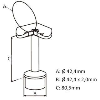 Handlaufträger, Eck-Handlaufstütze 90°, 42,4 x 2mm