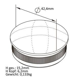 Endkappe mit Rändel, gewölbt, massiv, Ø 42,4 mm, V2A Edelstahl geschliffen