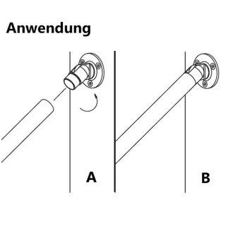 Wandflansch mit Gelenk 90 - 180°, für 42.4 mm Rundrohre, V2A Edelstahl geschliffen