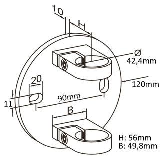 Wandflansch für Geländerpfosten passend 42,4 mm Rundrohr, V2A Edelstahl geschliffen