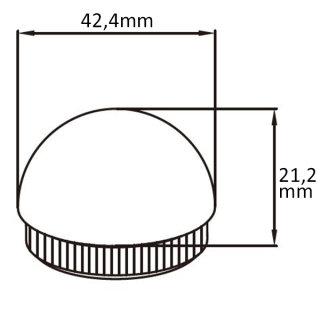 Endkappe mit Rändel, halbrund, hohl, Ø 42,4 mm, V2A Edelstahl geschliffen