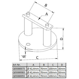 Wandanker / Pfostenhalter aus V2A Edelstahl geschliffen, für 42,4mm Rohre
