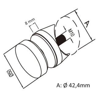 Punkthalter Ø 50 mm für 8-18 mm Glas, V2A Edelstahl geschliffen, für Glasgeländer
