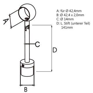 Rohrstütze mit Ringhalterung & Gelenk, höhenverstellbar für Rundrohr 42,4 x 2,0mm