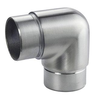 Eckverbinder 90°, leicht abgerundet  für Ø 42,4 mm Rundrohre, V2A Edelstahl geschliffen