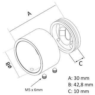 Wandflansch zweiteilig für 42,4 mm Rundrohr V2A Edelstahl geschliffen