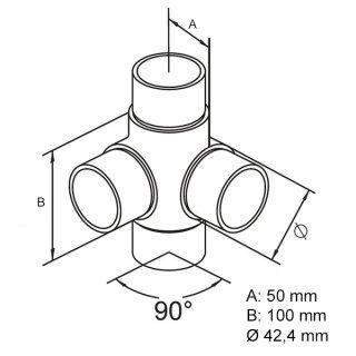 4-Wege-Eck-Verbinder 90° für Ø 42,4 mm Rundrohre V2A Edelstahl geschliffen