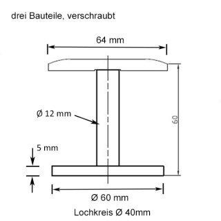 Handlaufträger Mauermontage für Rundrohr 42,4 x 2mm