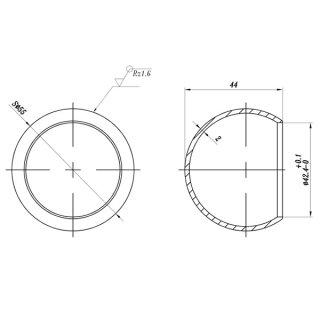 Endkappe Kugelkappe zum Aufstecken für Edelstahlrohr Ø 42,4 mm, V2A Edelstahl geschliffen