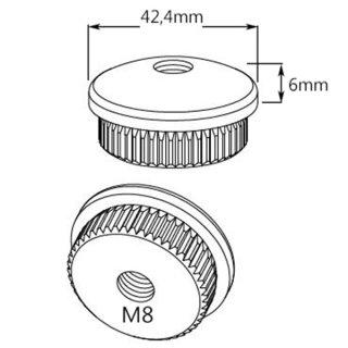 Endkappe mit Rändel, gewölbt, massiv, Ø 42,4 mm, M8 Innengewinde, V2A Edelstahl geschliffen