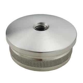 Endkappe mit Rändel, gewölbt, hohl, Ø 42,4 mm, M8 Innengewinde, V2A Edelstahl geschliffen
