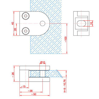Glashalter - Klemmbefestigung, V2A Edelstahl, halbrund, mit Gummieinlagen, 40x50mm