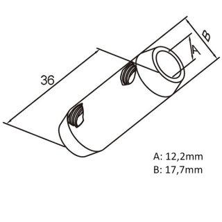 Verbinder für Rundstäbe 10mm/12mm, Edelstahl geschliffen
