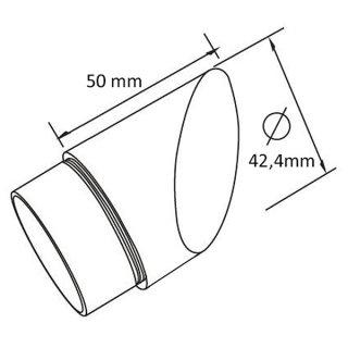 Endstück abgeschrägt 45°, Ø 42,4 mm, V2A Edelstahl geschliffen