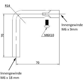 Trägerbügel 90° mit Gelenk, Ø 12 mm, 70 x 70 mm, 2 x Innengewinde M6, V2A Edelstahl