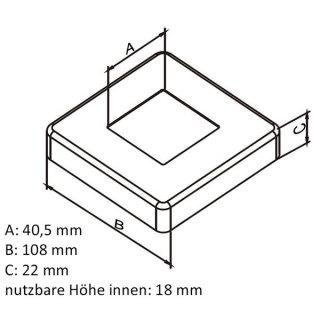 Abdeckrosette eckig aus V2A Edelstahl für 40x40mm Geländerpfosten