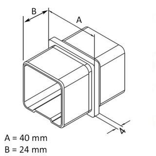 Verbinder gerade für Vierkantrohr 40x40x2 mm, V2A Edelstahl geschliffen