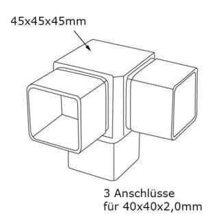 3-Wege Eck-Verbinder 90° für Rohr 40x40 mm; Edelstahl AISI 304