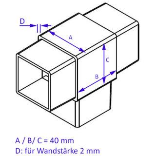 3-Wege T-Verbinder für Rohr 40x40 mm; Edelstahl AISI 304