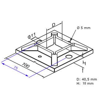 Bodenflansch 100x100mm für Vierkant-Rohr 40x40mm, Edelstahl AISI304