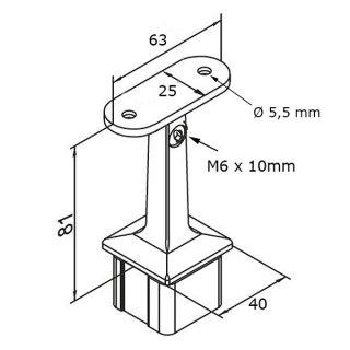 Rohrstütze mit Gelenk, für Vierkant-Rohr 40x40mm, Edelstahl V2A