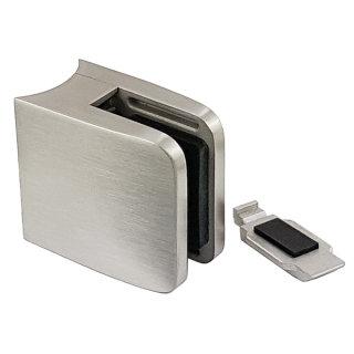 Glashalter mit Sicherungsplatte, rechteckig, 52x52x32mm, V2A Edelstahl