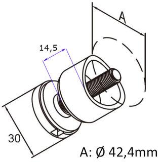 Punkthalter Ø 30 mm für 6 - 12 mm Glas, gerader/ 42,4 mm Anschluss, Edelstahl geschliffen