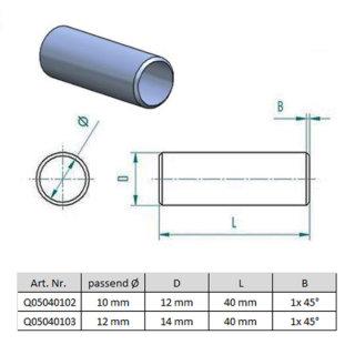 Rundstab Verbinder, V2A Edelstahl, für 10mm / 12mm Stäbe, zum Verkleben